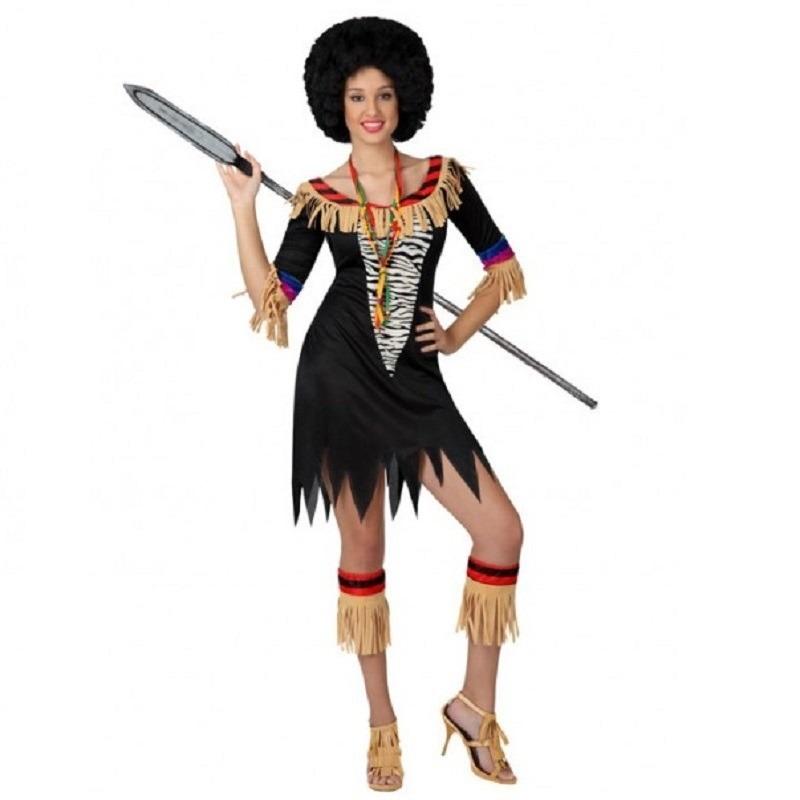Landen kostuums Carnavalskostuum winkel Zulu jurkje met zebra print