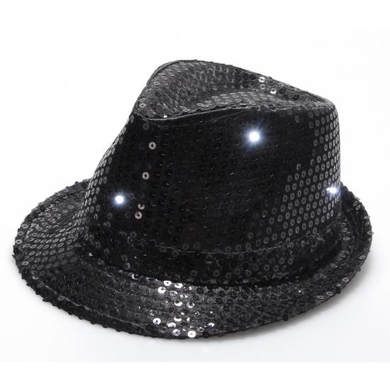 Zwart pailletten hoedje met LED licht Geen nieuw