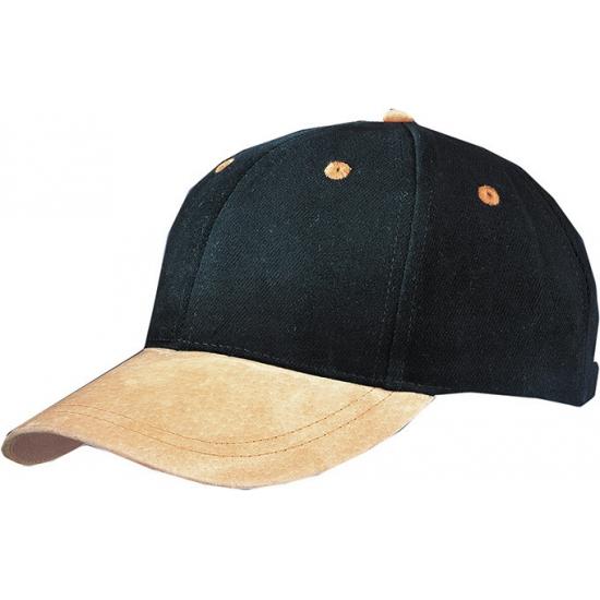 Zwarte 6-panel cap met suede look
