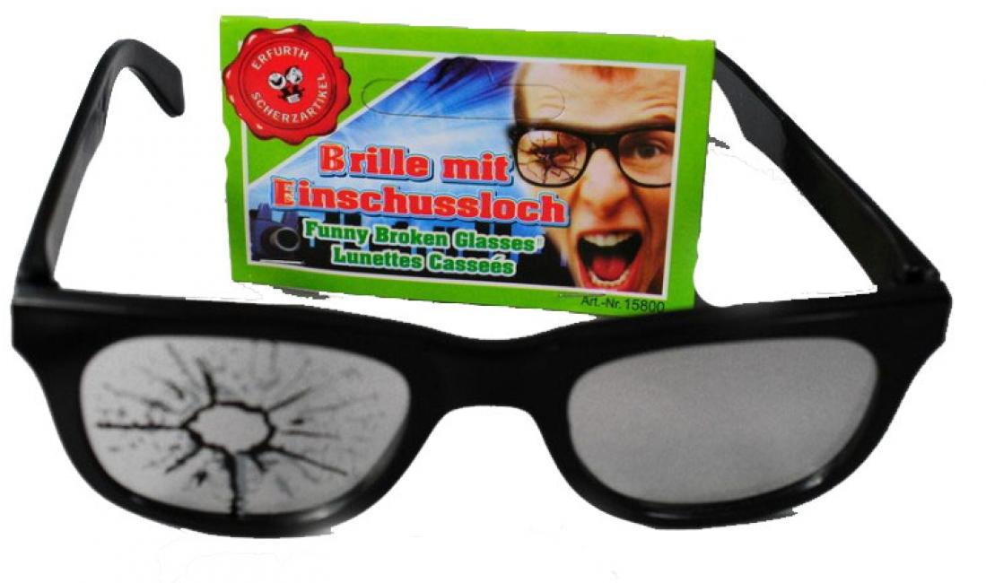 Zwarte bril met gat in de lens Carnavalskostuum winkel Fun en Feest brillen