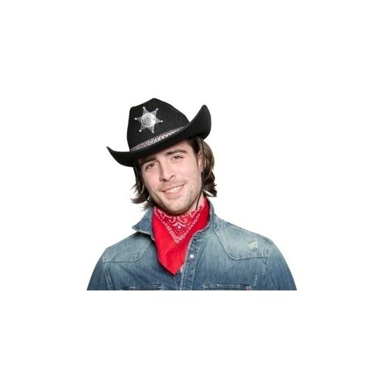 Feest hoeden Zwarte cowboyhoed met sheriff ster