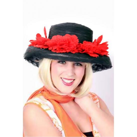 Feest hoeden Geen Zwarte dameshoed met bloemetjes