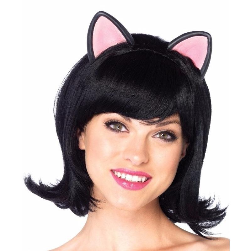 Zwarte damespruik met poezen/kattenoren