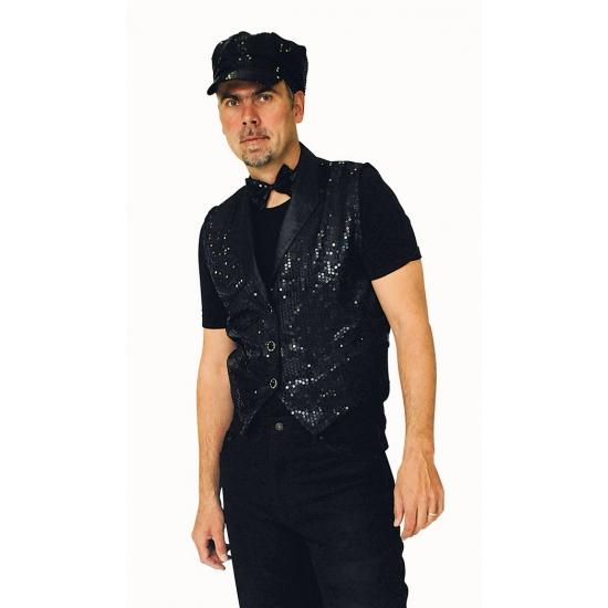 Zwarte gilet met pailetten voor heren