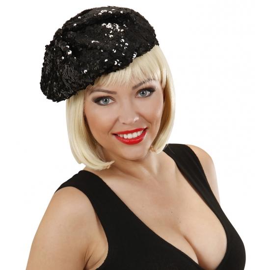 Feest hoeden Carnavalskostuum winkel Zwarte glitter mutsjes voor dames