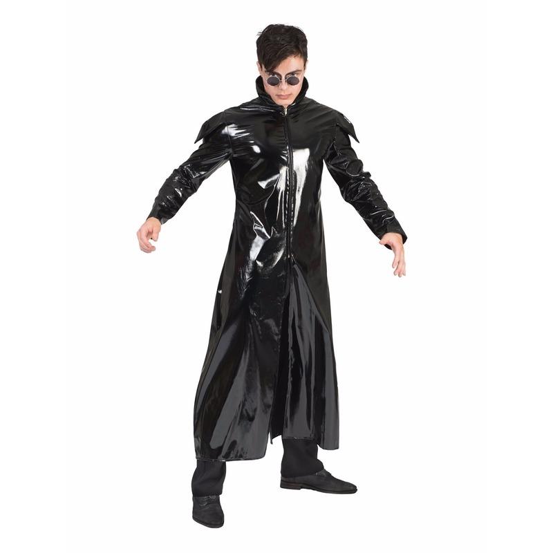 Zwarte gothic lak verkleed jas voor heren