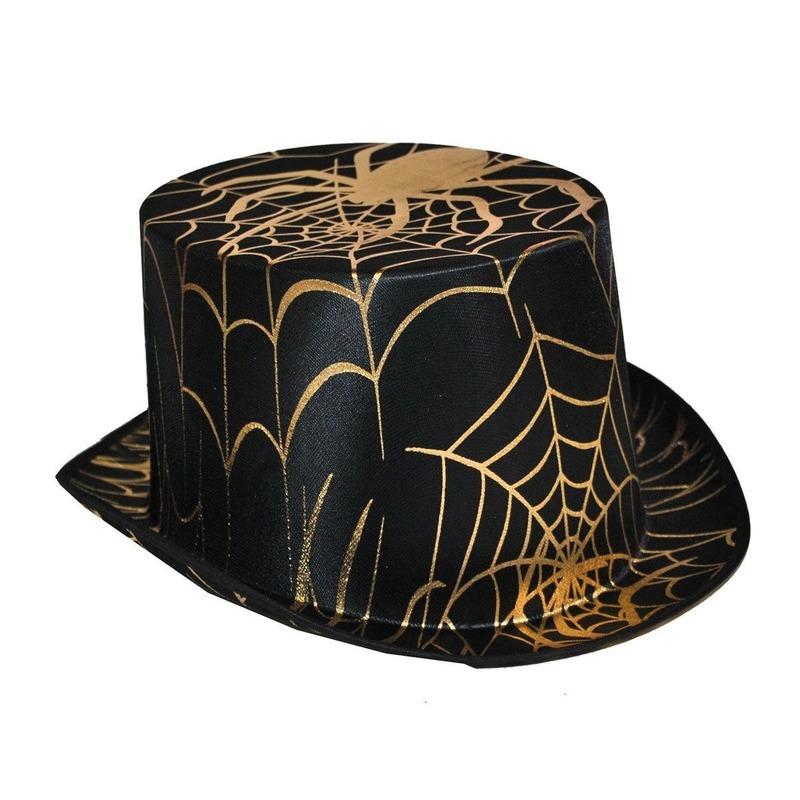 Zwarte hoge hoed met gouden spin
