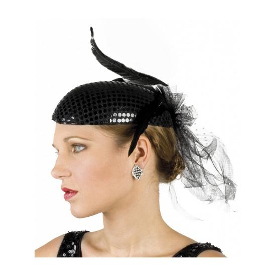 Carnavalskostuum winkel Zwarte jaren twintig hoed met pailletten Feest hoeden