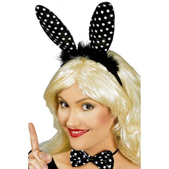 Zwarte konijnenoren diadeem met witte stippen Carnavalskostuum winkel te koop