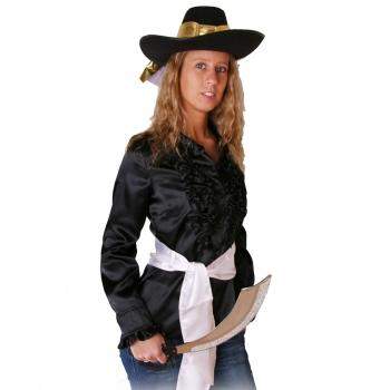 Zwarte piraten overhemden voor dames