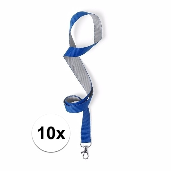 10 keycords blauw/grijs 2 x 50 cm