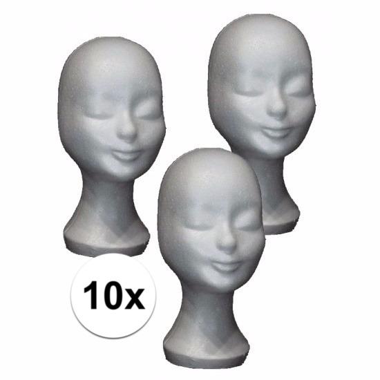 10 stuks tempex hoofden voor pruiken 30 cm
