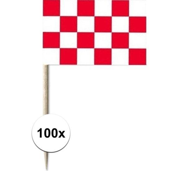 100x Cocktailprikkers Brabant 8 cm vlaggetje provincie decoratie