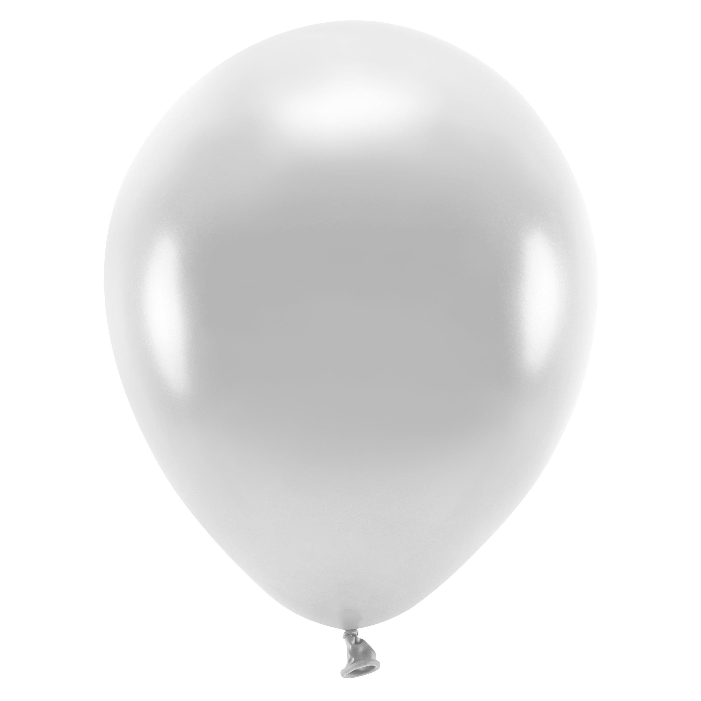 100x Zilverkleurige ballonnen 26 cm eco/biologisch afbreekbaar