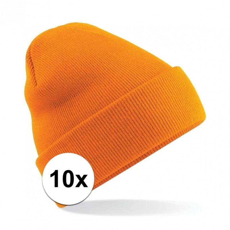 10x Basic schaatsmuts oranje