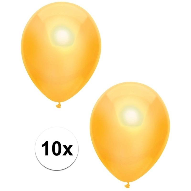 10x Gele metallic ballonnen 30 cm