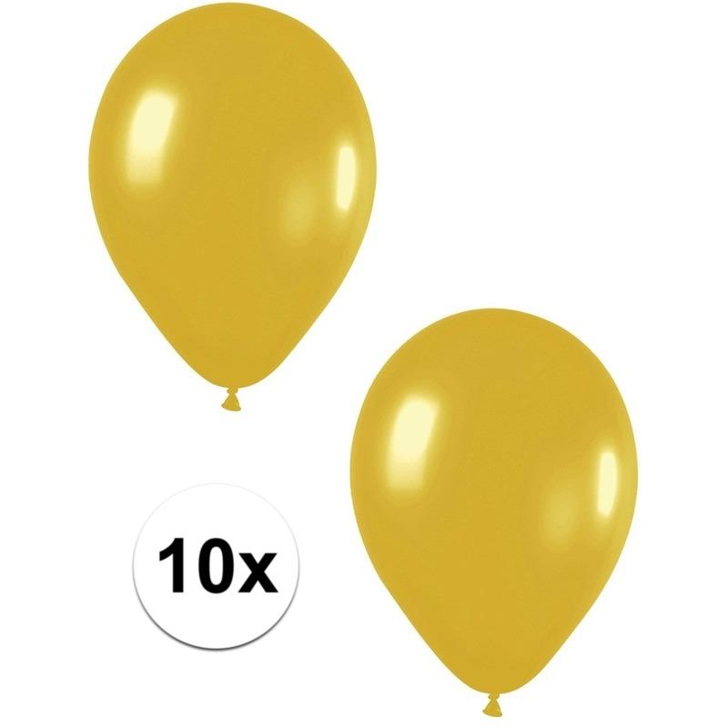 10x Gouden metallic ballonnen 30 cm