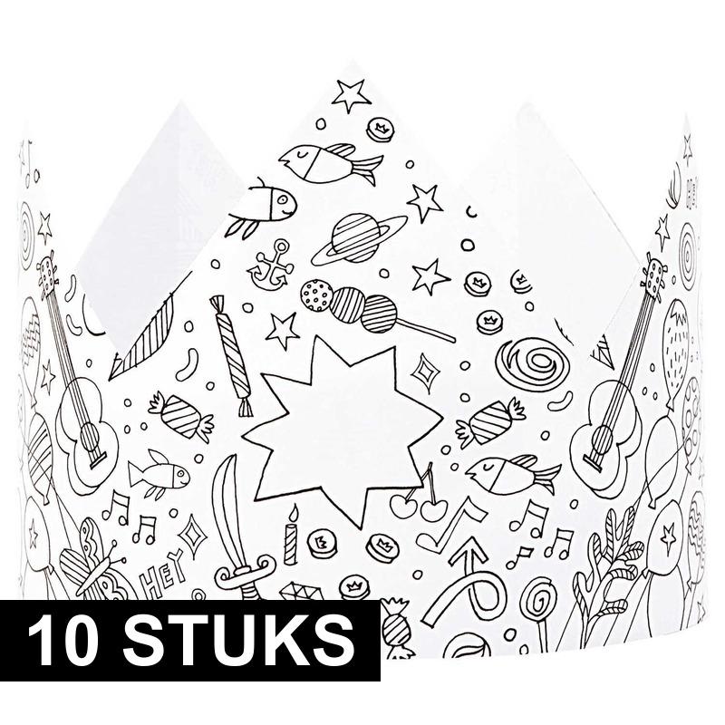 10x Knutsel papieren kroontjes om in te kleuren voor kinderen