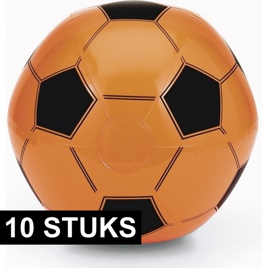 10x Opblaasbare oranje voetbal strandballen speelgoed