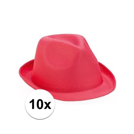 10x Roze trilby hoedjes voor volwassenen