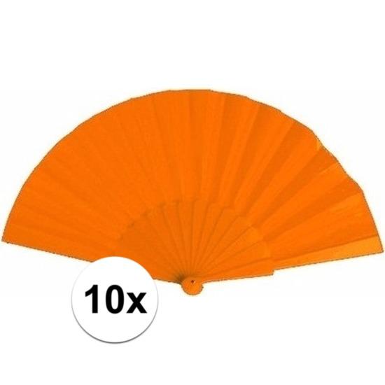 10x Spaanse handwaaiers oranje 23 cm