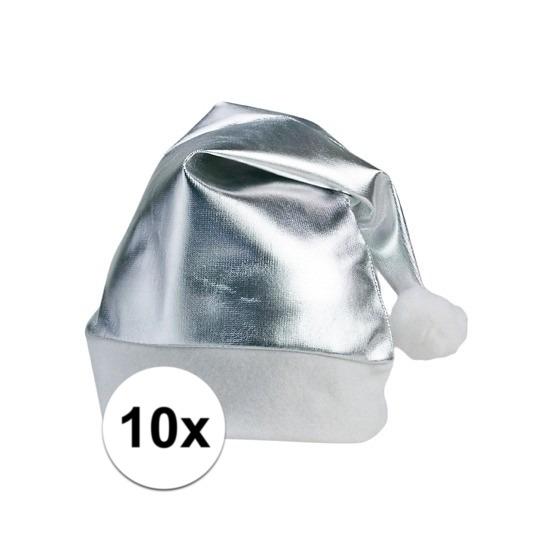 10x stuks zilveren glimmende kerstmutsen volwassenen