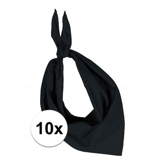 10x Zakdoek bandana zwart
