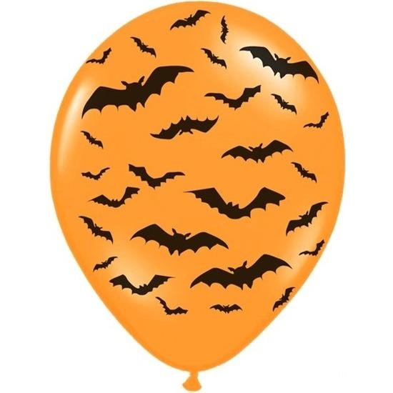 12x Oranje/zwarte Halloween ballonnen 30 cm met vleermuizen prin