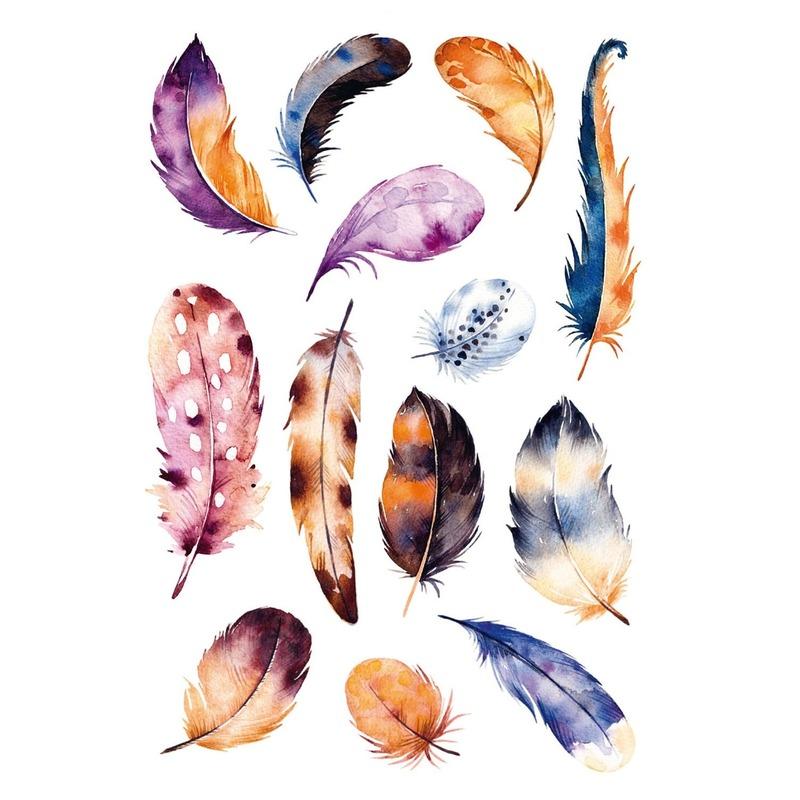 13x Gekleurde veren stickers met aquarel print