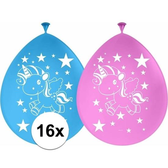 16x Eenhoorn themafeest ballonnen 30 cm