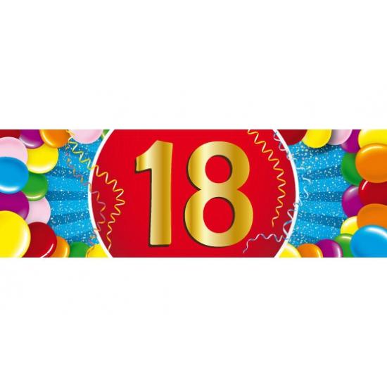 18 jaar leeftijd sticker 19 x 6 cm verjaardag versiering