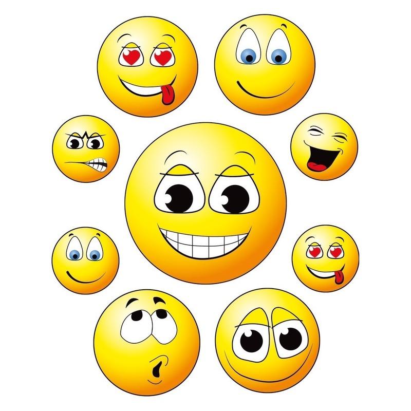 18x Raamstickers smileys/emoticon raamdecoratie