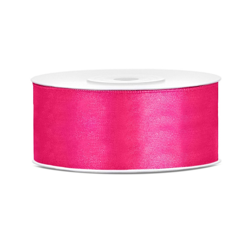 1x Hobby/decoratie donker roze satijnen sierlint 2,5 cm/25 mm x 25 meter