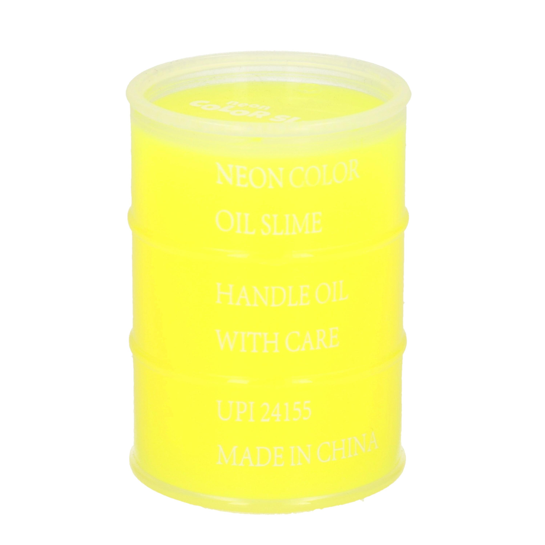 1x Potjes speelgoed/hobby slijm geel in olievat 5,5 x 8 cm 150 ml inhoud