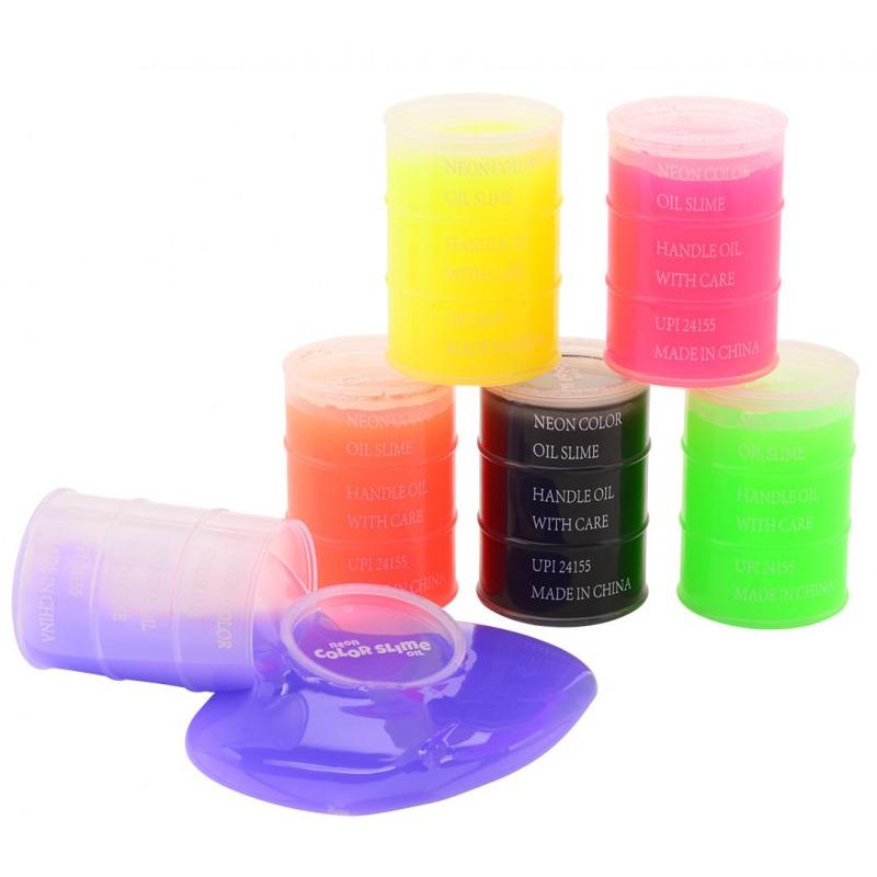 1x Potjes speelgoed/hobby slijm roze in olievat 5,5 x 8 cm 150 ml inhoud