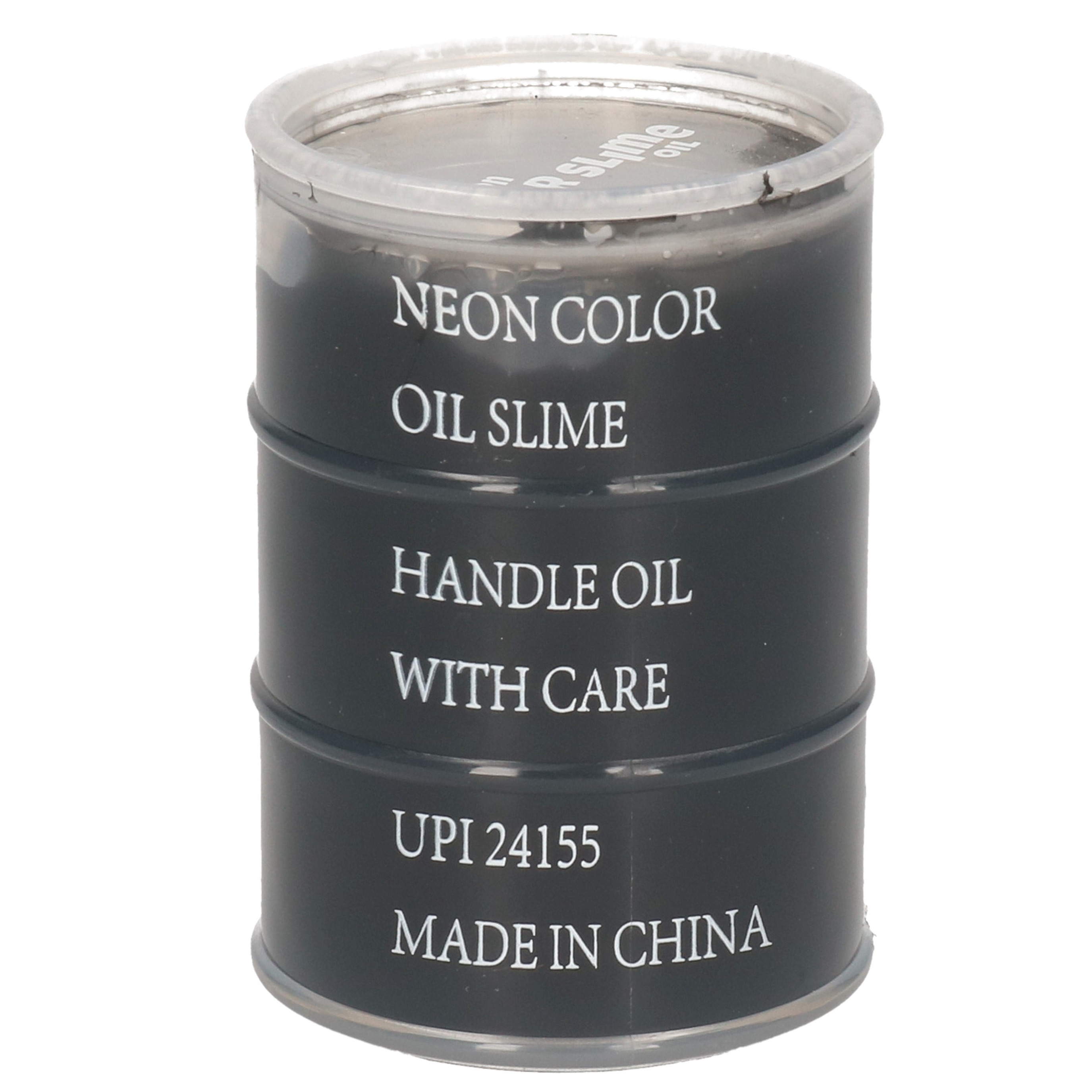 1x Potjes speelgoed/hobby slijm zwart in olievat 5,5 x 8 cm 150 ml inhoud
