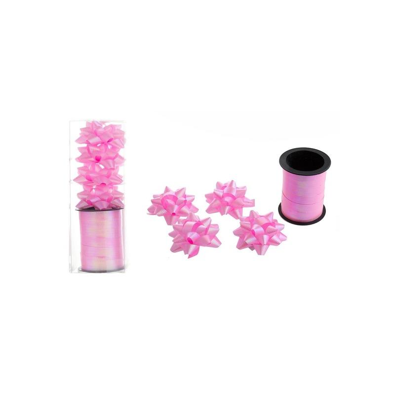 1x Rol cadeaulint sierlint 10 meter roze en 4 strikjes
