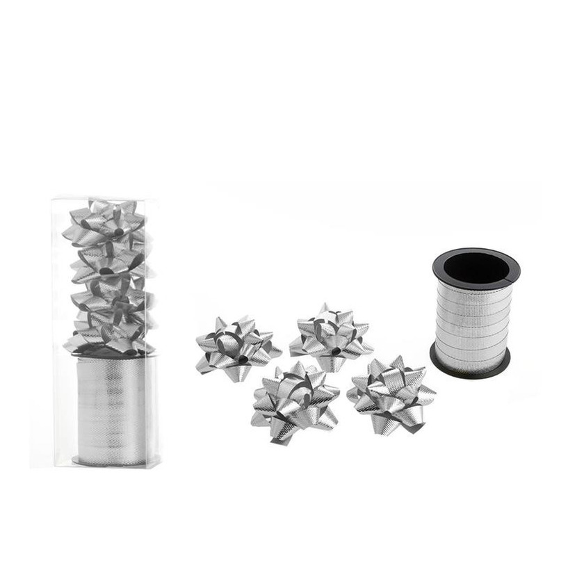 1x Rol cadeaulint sierlint 10 meter zilver en 4 strikjes