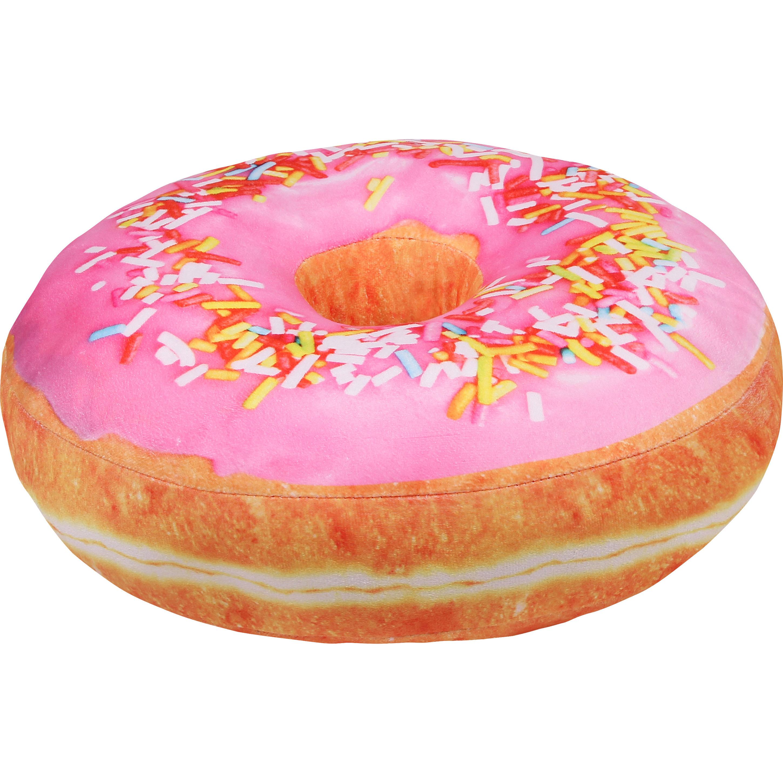 1x Sprinkels donut kussen lichtroze 40 cm
