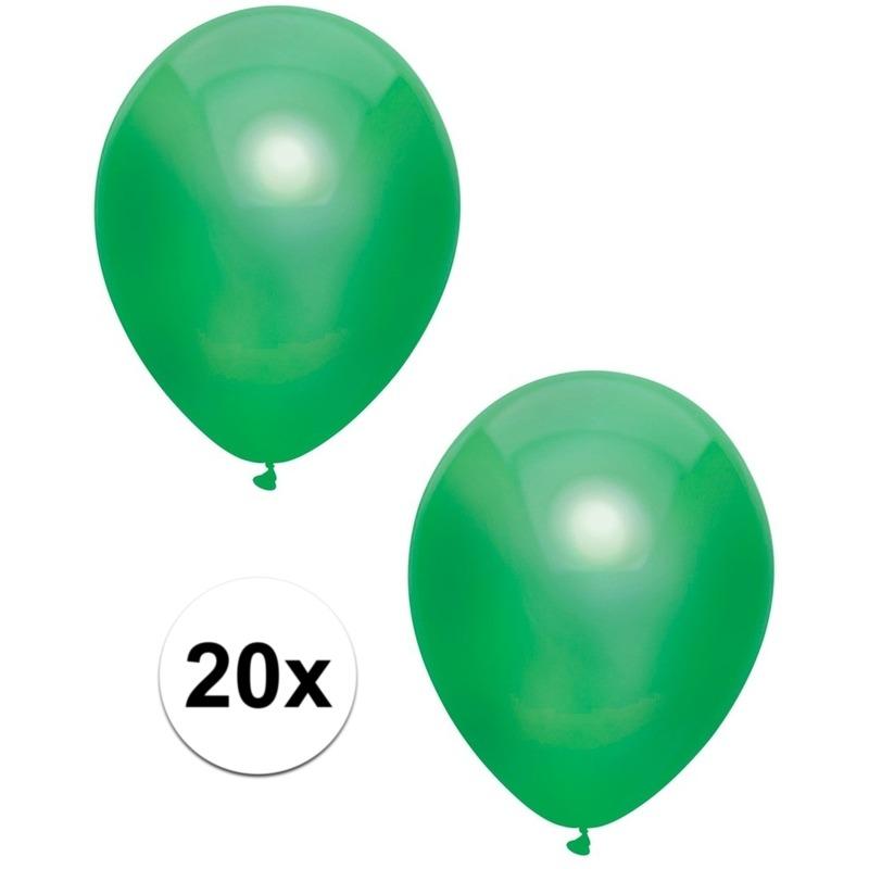 20x Donkergroene metallic ballonnen 30 cm
