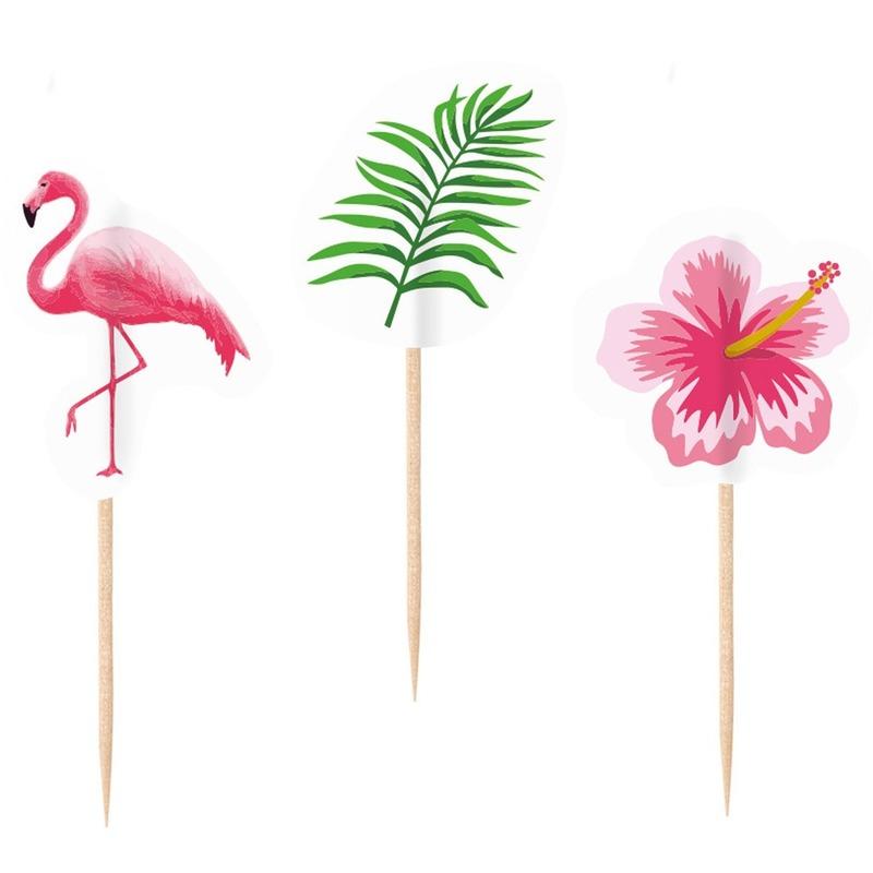 20x Flamingo print cocktailprikkers