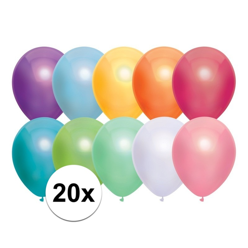 20x Gekleurde metallic ballonnen 30 cm