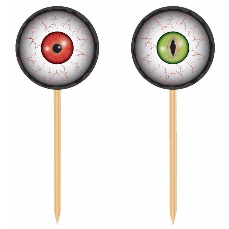 20x Horror halloween cocktailprikkers met oogbollen