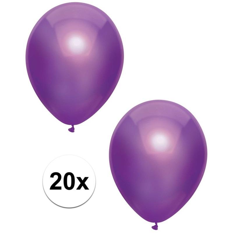 20x Paarse metallic ballonnen 30 cm