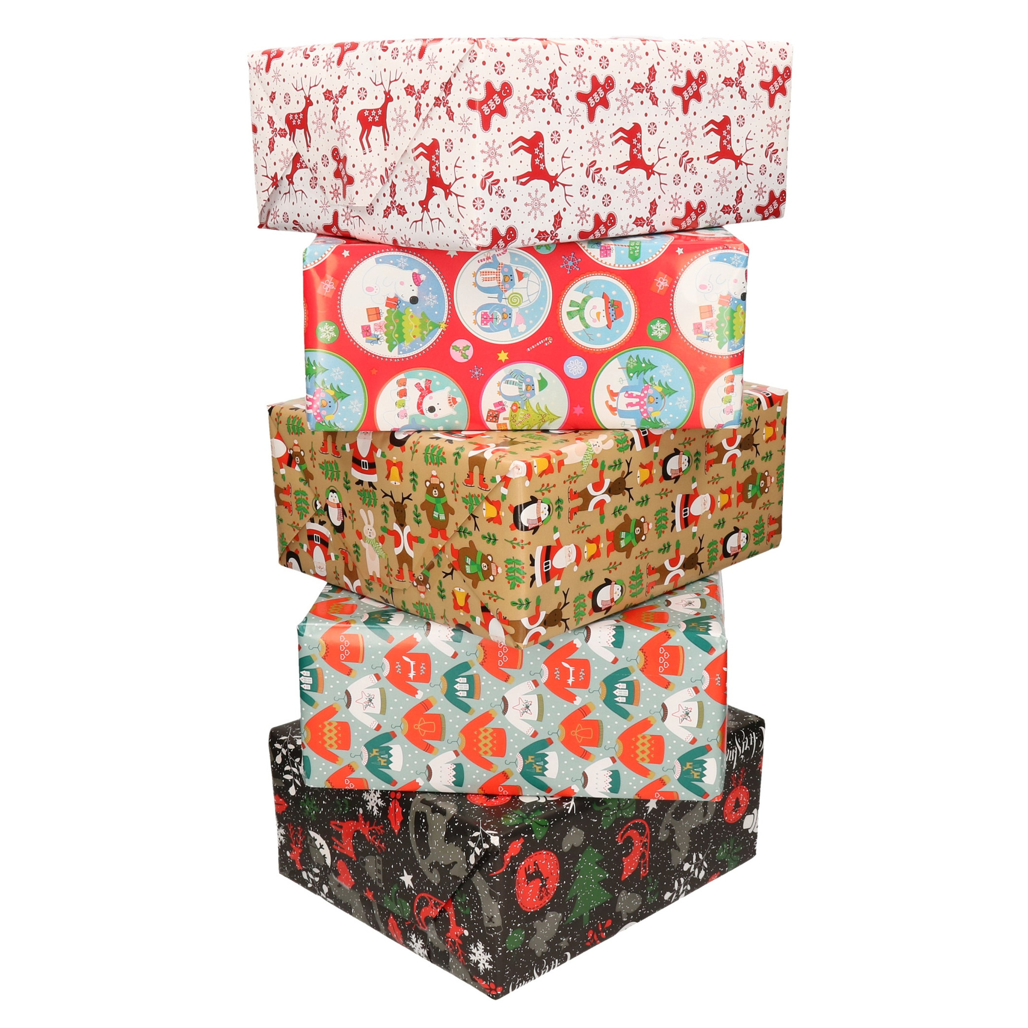 20x Rollen Kerst inpakpapier/cadeaupapier diverse prints 2,5 x 0,7 meter voor kinderen