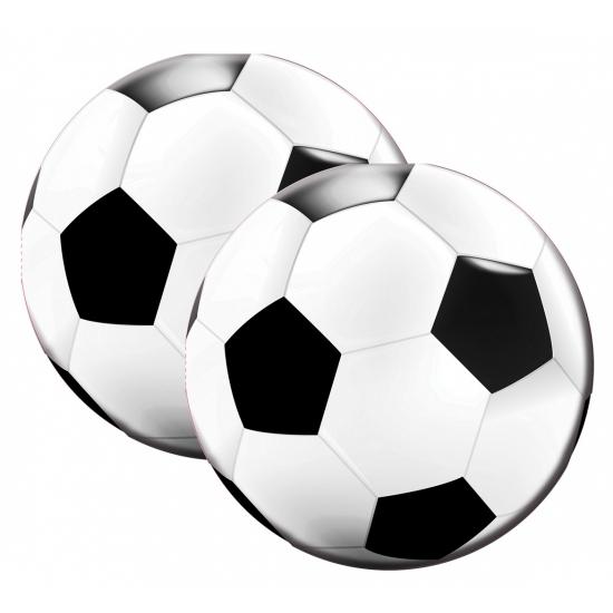 20x Ronde voetbal thema print servetten 16 x 15 cm