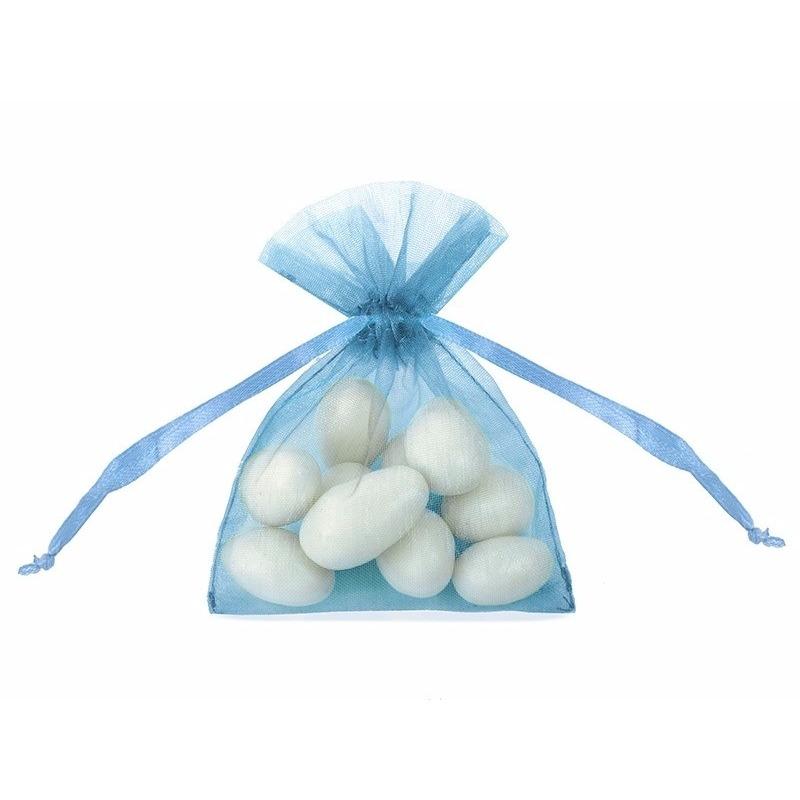 20x stuks Blauwe organza cadeauzakjes 10 cm