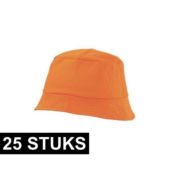 25x Oranje vissershoedjes/zonnehoedjes voor volwassenen