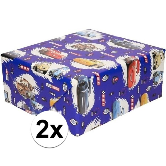 2x Disney inpakpapier/cadeaupapier Cars blauw 200 x 70 cm op rol