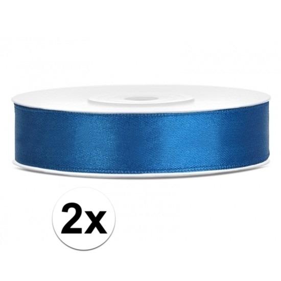 2x Hobby/decoratie kobaltblauwe satijnen sierlinten 1,2 cm/12 mm x 25 meter